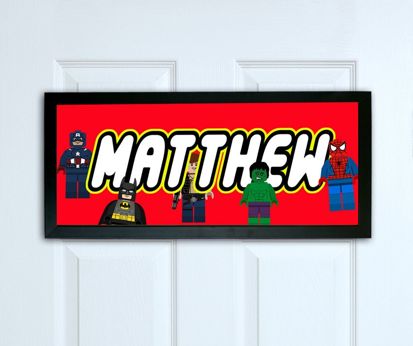 Kids Bedroom Door personalised door sign print lego superhero door sign kids