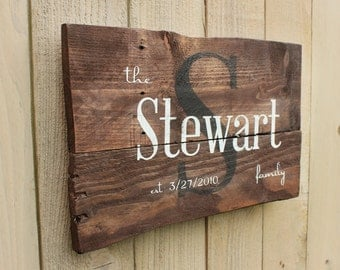 Rustic Family Name and est. date monogram reclaimed pallet wood sign established anniversary personalized distressed