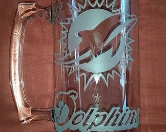 Miami Dolphins Sand Carved Glass Sport Mug