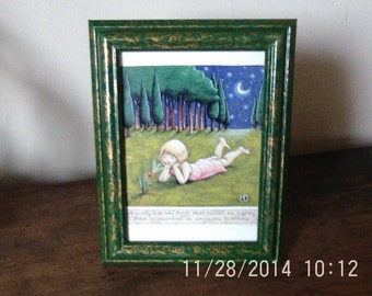 Vinegar painted picture frame in green on gold