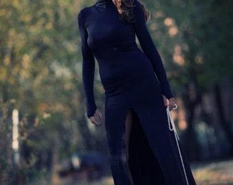 dress/black dress/long dress/dress with slit/party dress/prom dress/polo dress/evening dress