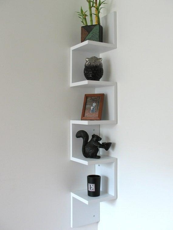 etagere d 39 angle moderne. Black Bedroom Furniture Sets. Home Design Ideas