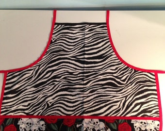 Full Size Adult Apron Zebra with Skulls and Roses with Pockets
