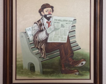 Vintage 1970's Original Michael Grow Hoppin Oil Painting Mid Century Modern Clown Reading Wall Street Journal