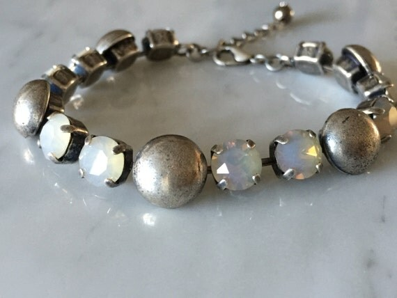 Antique Silver Dome and Crystal Bracelet, Light Gray Opal Bracelet, Antique Silver and Crystal Bracelet, Opal Crystal Bracelet