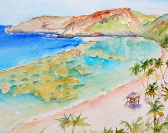 Hanauma Bay Hawaii, 12x16, ORIGINAL Watercolor Painting, Hawaiian Art, Oahu Island, Beach theme, Tropical art, Beachy, Beach house decor