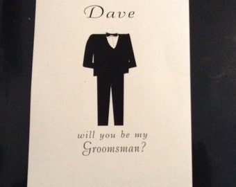Groomsman card with envelope will you be my groomsman?