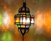 Moroccan hanging lantern moorish ceiling metal  lamp with stained glass