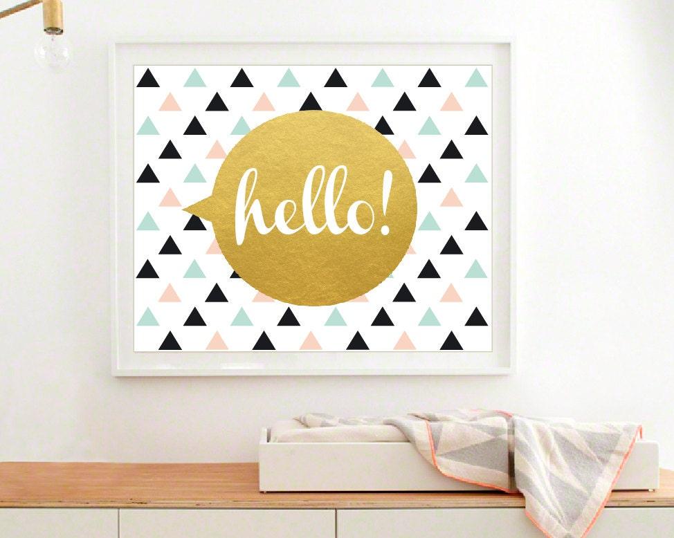 Geometric print modern nursery wall art baby gold art print - Modern nursery wall decor ...