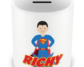 Personalized Superhero Money Box - Piggy Bank Savings Gift Idea Boys powers name kids children party gift present birthday