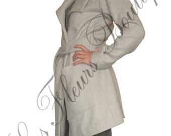 Grey oversize loose plus size maxi cashmere woman handmade coat