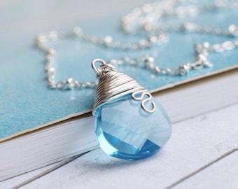 Light Blue Necklace Sky Blue Crystal Initial Necklace Light Blue Wedding Jewelry