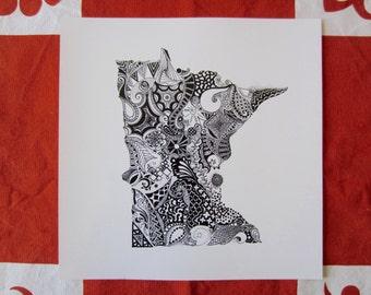 Minnesota State Art/Minnesota Outline Art Print