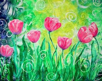 Dancing Tulips Art Print, wall decor poster, print of painting