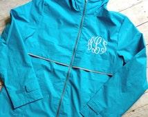 Monogrammed Rain Jacket - Charles River Rain Jacket - Ladies Monogrammed Jacket-Women's Jacket- Personalized Full Zip Up Rain Jacket