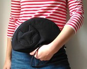 Sleeping Black Cat, Clutch Bag, Cat bag, Handmade bag,  Gift for cat lover