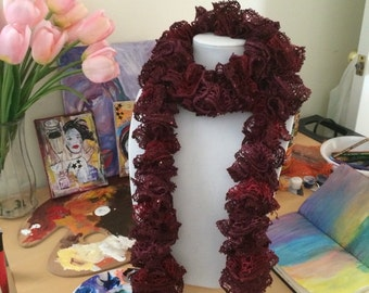 burgundy ruffle scarf with sequins