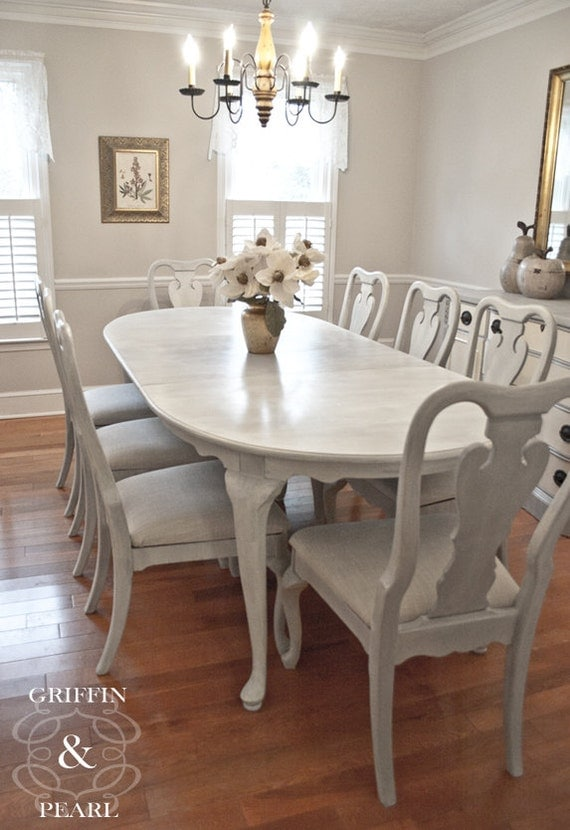 Items Similar To SOLD Beautiful 9 Piece Queen Anne Dining Set Table