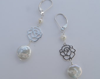 White Coin Pearls and Sterling Rose Earrings