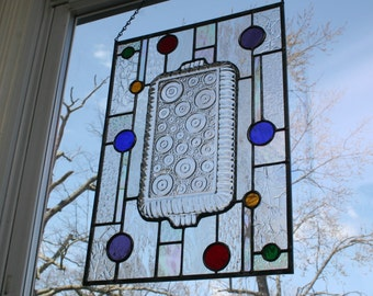 Stained Glass Panel - Stained Glass Window Hanging - Circles