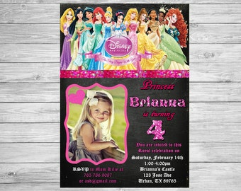 All Princesses Disney Invitation - Princess Birthday- Princess Printable - Fairy Tale - girl birthday - Glitter Pink