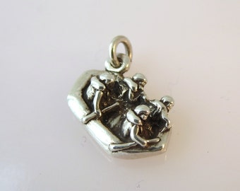 Sterling Silver 3-D 4 People in a White Water RAFT Charm Pendant .925 Sterling Silver River Rafting New sp14