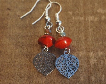 Earrings with two color beads and silver pendants