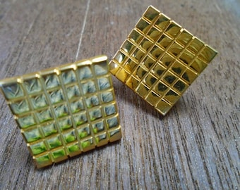 Vintage 1960's Mod Square Grid Design Earrings in Gold Tone Screw Back/Clips