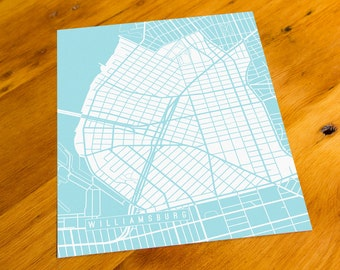 Williamsburg, Brooklyn - NYC, NY - Map Art Print  - Your Choice of Size & Color!