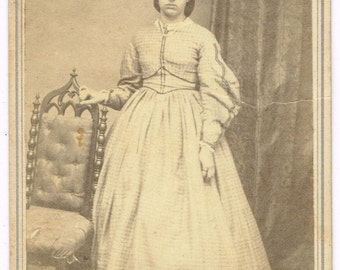 Standing Young Lady in St. Albens Vermont by T.G. Richardson 1860's CDV