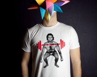 T-shirt Haltérophile déphasé Homme Moustache Moutarde