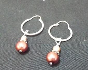 Pearl Earrings, Pearl Drop Sterling Silver Hoop Earrings