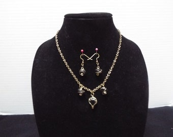 Heart Necklace, Handmade Bronze Wire Wrapped Black Heart / Circle Charm Necklace and Matching Earring Set
