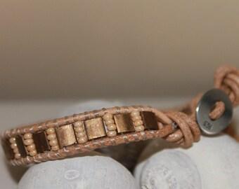 Leather single Wrap bracelet ,Nature color,Miyuki beads