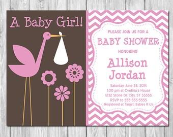 Girl Baby Shower Invite Stork Pink Brown  - Chevron Baby Shower Invite - Girl Baby Shower Invite