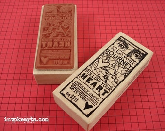 Journey of the Heart Ticket Stamp / Invoke Arts Collage Rubber Stamps