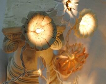Twinkle Light Flowers - Paper Daisy String Lights - Handmade Paper Flower Fairy Lights - Event Lighting - Decor - Wedding Lights - Custom