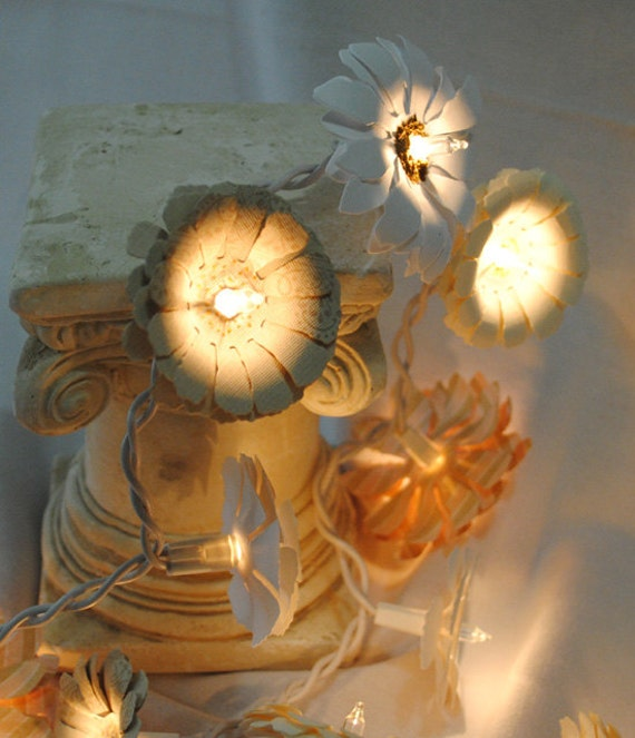 Argos Flower String Lights : Twinkle Light Flowers Paper Daisy String Lights Handmade