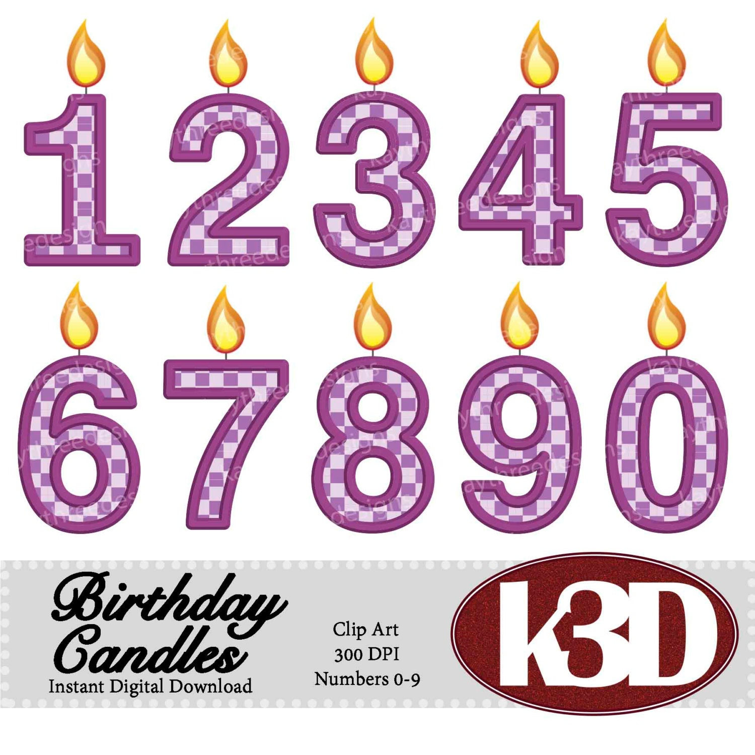 Purple Birthday Candle Clipart Happy Birthday Purple ...