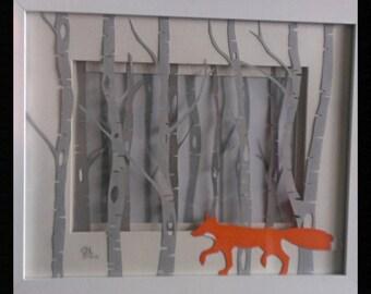 Special offer *** Birch forest: Fox - Original layered Papercut Art