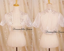 White beading lace bolero,Shrug bridal lace jacket,Short sleeve shrug bolero,Handmade shrug bolero,Lace top,Bridesmaid lace bolero,Shrug