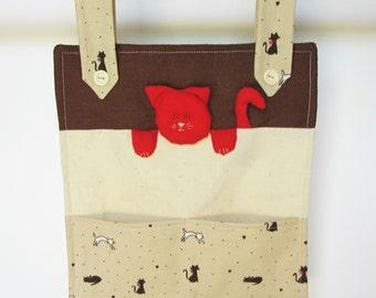 Children's fabric wall organiser, pocket organiser, childrens cotton cat decoration, fabric pocket decoration