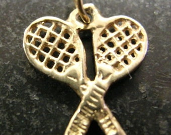 Pair of Wooden TENNIS RACKETS 14k Gold Charm