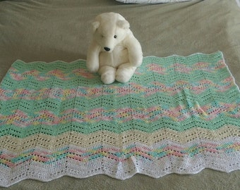 Heirloom Handmade Crochet Afghan Throw Gender Neutral Baby ...