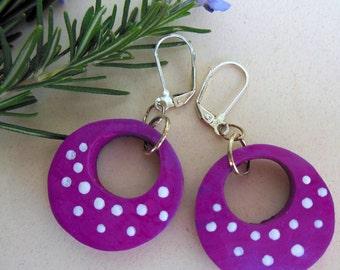 Pink Gourd Art Earrings,Lightweight gourd earrings, Polka dot gourd earrings