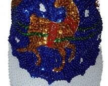 Reindeers Blue Sequin Cap