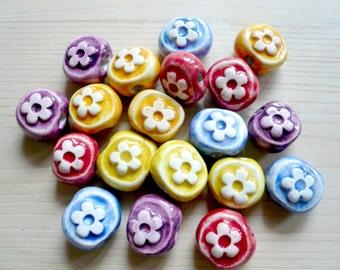perline ceramica fiore - perline handmade in ceramica con fiore - perline fiore - perline collana - perline per orecchini - perle bracciale