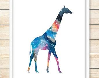 Galaxy Giraffe Wall Art, Printable Wall Art, Space Art, Modern Home Decor, Dorm Art, Gift, Space Poster, Stars, Sky, Blue, coffeeandcoco