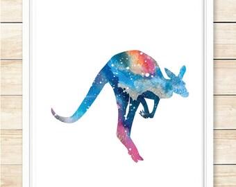Kangaroo Print, Kangaroo Decor, Printable Wall Art, Galaxy Print, Modern Wall Art, Gift, Blue, Digital Download, Space Poster, coffeeandcoco