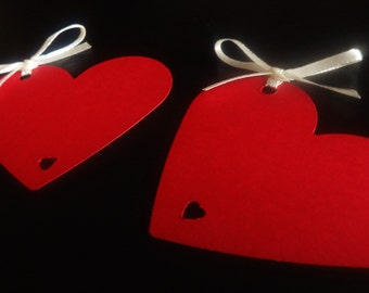 50 Red Heart Wedding Favour Tags Place Cards Wishing Tree Labels